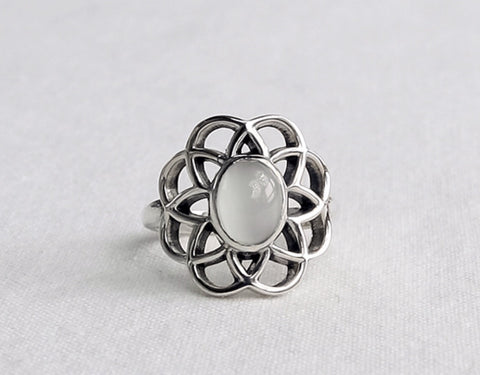 925 Sterling Silver Flower petal shape Moonstone Ring, Moonstone statement ring