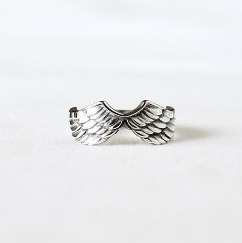 925 Sterling Silver Angel Wing statement ring ,Big feather ring