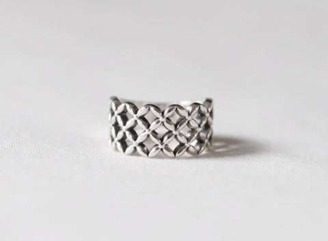 925 sterling silver Flower Pattern net Ring, Net Ring, Wide grid ring