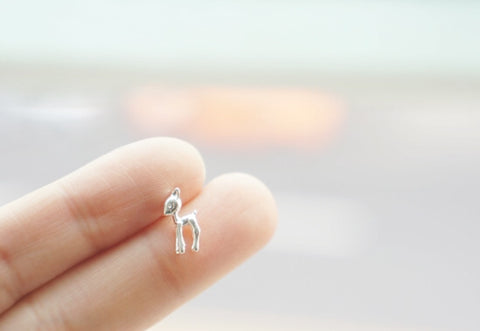 Tiny Bambi Fawn stud earrings in 2 colors