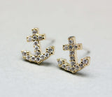 Make a wish cubic zirconia detail tiny anchor earrings