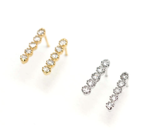 Long Bar with cubic zirconia detail stud earrings in Gold /Silver(925 sterling silver/plated over Brass)