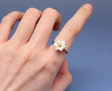 Antique and Vintage White Daisy Flower Ring detailed in swarovski stone