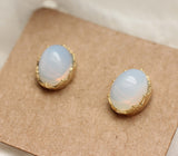 Moonstone Stud Earrings in gold / silver