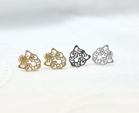 Cut-out Tiger Stud earrings detailed with cubic zirconia.