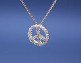 Peace sign with Pearl Pendaanr Necklace in Gold / Silver