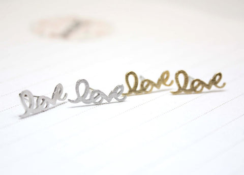 Love earring - Wire Word stud( gold / silver)