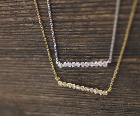 Long Bar with cubic zirconia detail Necklace in Gold /Silver (925 sterling silver / plated over Brass), N0787G