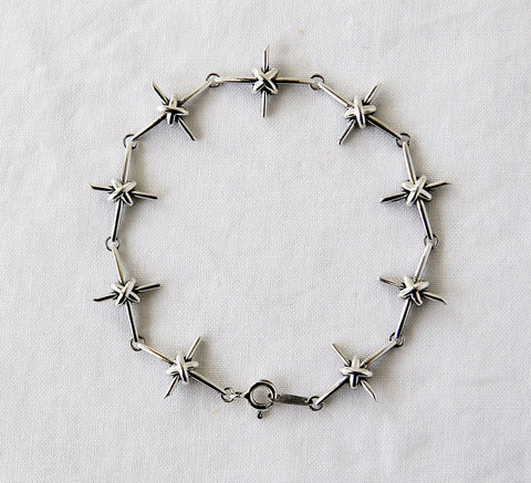 925 Sterling silver Antique Cross Knot Linked chain bracelet, B1102S