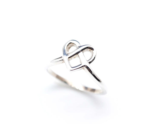 925 sterling silver Heart Knot Ring