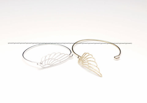 Angel Wing Bangle Bracelet in Gold/ Silver
