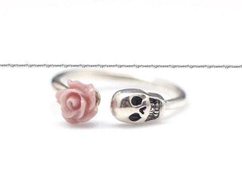 925 sterling silver Rose and Skull ring