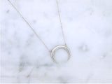 925 sterling silver Cubic detailed Upside Down Moon Necklace, Horn Charm necklace