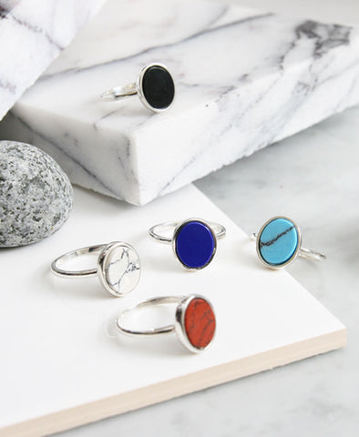 925 Sterling Silver Ellipse Oval Shape gemstone statement Stacking Rings, Marble Stone Ring