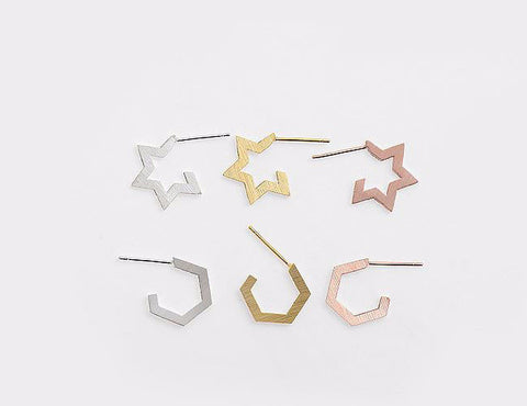 925 Sterling Silver Structural Star Stud Earrings, Geometric Hexagon Stud Earrings