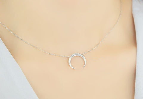 925 sterling silver Cubic detailed Upside Down Moon Necklace, Horn Charm necklace,Crescent moon necklace