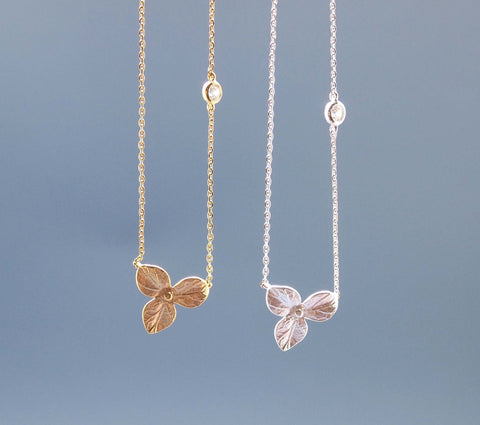 Three Petal with tiny cubic zirconia Necklace (925 sterling silver / plated over Brass)