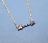 Arrow with cubic zirconia detail pendant necklace (925 sterling silver/plated over Brass)