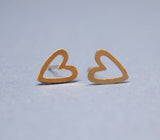 Sideways Open Heart  studs earrings in gold silver