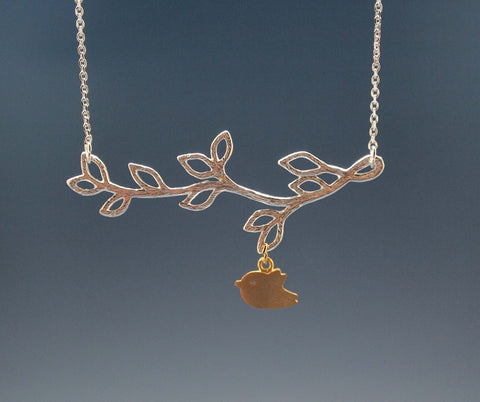 Multi Leaf Branch And Bird Dangling Necklace in Gold /  Silver