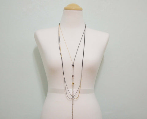 Long chain fringe skull Necklace Long Mixed Chains Scarf Style,Handcrafted Jewelry
