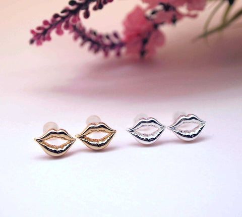 Kissing Sexy Lips stud post earrings in Gold / Silver