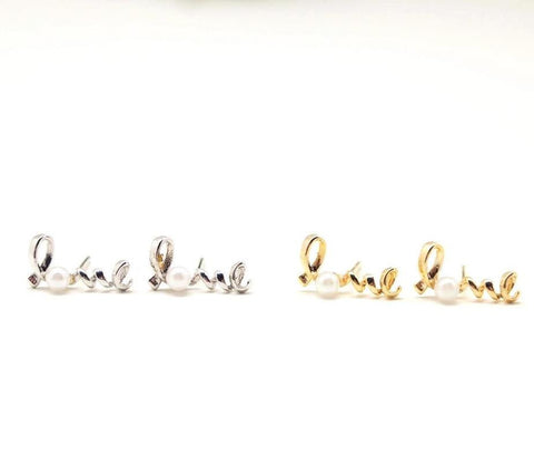 Love stud earring with pearl - Wire Word stud(925 sterling silver/plated over Brass)