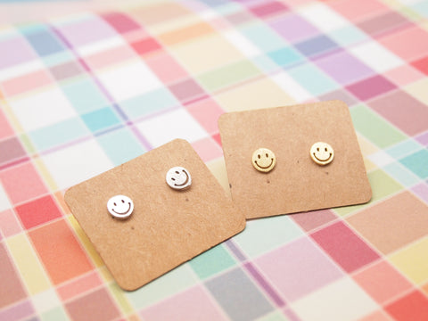 Tiny Smiley face studs earrings in gold / silver