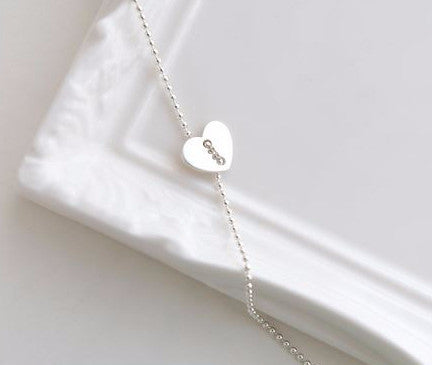 925 Sterling Silver Heart button with ball chain necklace ,N1161S