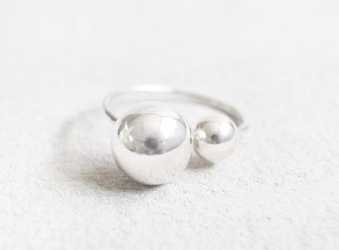 925 Sterling Silver Double Balls Statement Ring, R1105S