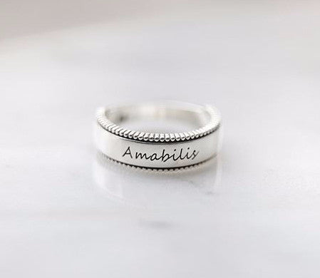 925 sterling silver Personalized writing engraved ring /Couple Rings, initials ring, date ring (up to 9 characters)