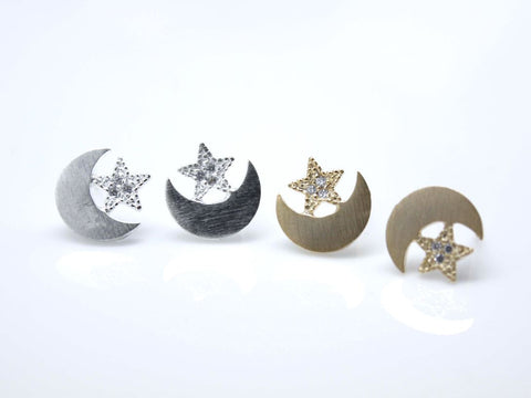 Twinkle Star and Crescent moon studs earrings in 2 colors(925 sterling silver/plated over Brass)