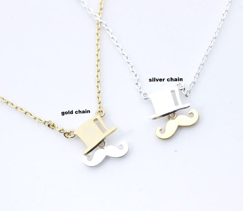 Mustache and Top hat charm pendant Necklace