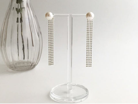 925 Sterling Silver front and back pearl and dots chains long drop earrings