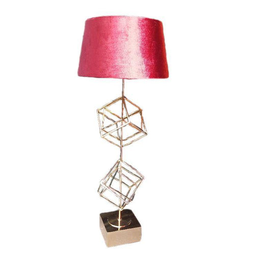 Lamp table lamp red gold cube design lighting lamps - ThatLyfeStyle