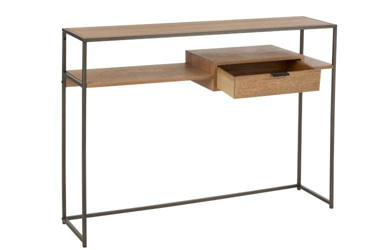 J-Line Side table 1 Lade Hout Metaal Naturel - ThatLyfeStyle