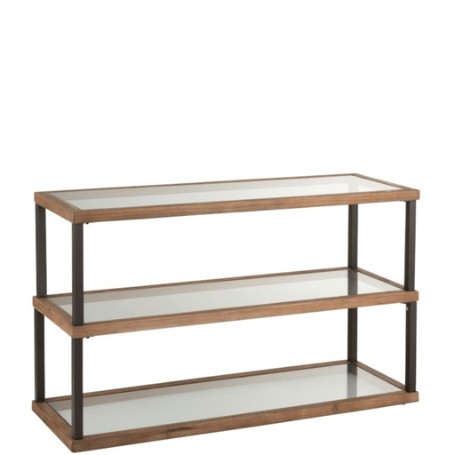 J-Line Side table 3 Niveaus Glas Hout Bruin - ThatLyfeStyle