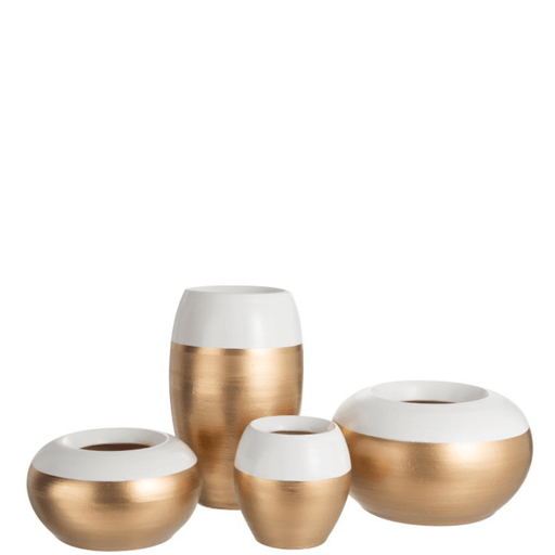 J-Line Vaas Bloempot Terracotta Wit Goud Small - ThatLyfeStyle