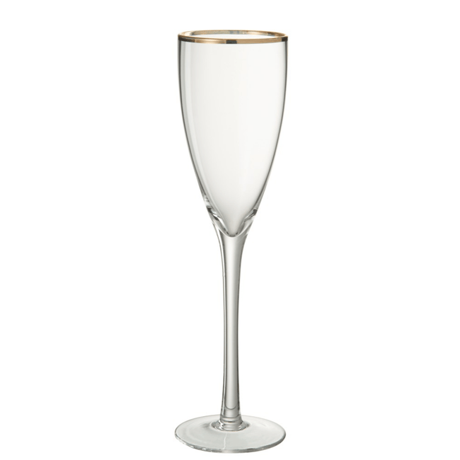 J-line Champagneglas Wijnglas Witte, Rode Wijn Gouden Rand Transparant Goud - ThatLyfeStyle