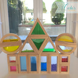 Sensory Block Set / Educational wooden building blocks / 16 pcs