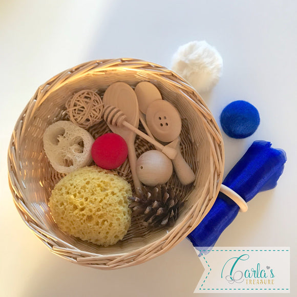 Montessori Themed Baby Sensory Basket - 15 objects