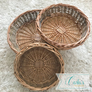 Natural willow round basket / tray
