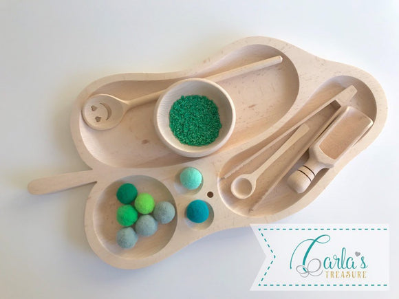 5 Compartments Montessori Tray / wooden divider tray