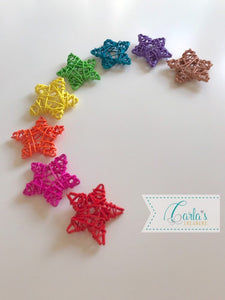 Rainbow wicker stars and balls
