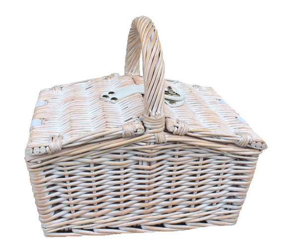 White Wash Picnic Basket