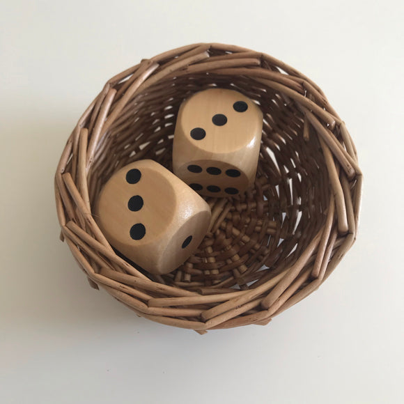 Pair of large wooden dice