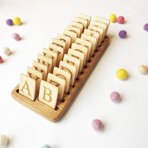 Wooden Uppercase Letter Cards with Holder / Set of alphabet cards with stand