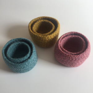 Felted wool bowls