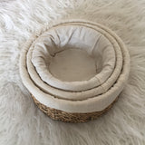 Lined Round Seagrass Baskets - Set of 3