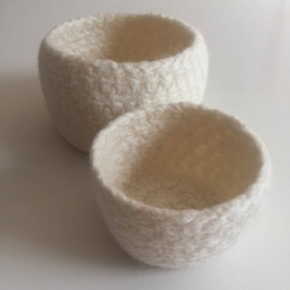 Off White Felted wool bowls